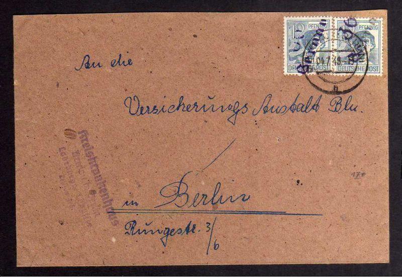 H2941 Handstempel Bezirk 36 Bermau 2x 12 violett Brief Kreiskrankenhaus an Versi