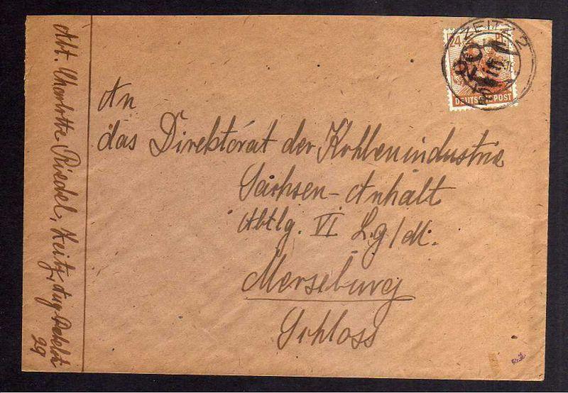 H2887 Handstempel Bezirk 20 Zeitz Bedarfsbrief nach Mersenburg gepr. BPP
