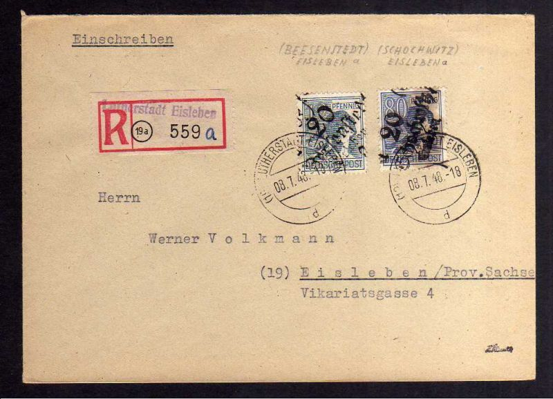 H2853 Handstempel Bezirk 20 Beesenstedt Eisleben Schochwitz gepr. BPP Orts-Einsc