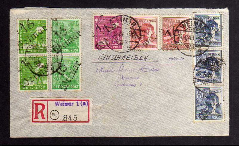 H2848 Handstempel Bezirk 16 Weimar gepr. BPP 10 Werte mit 2x 181 84 Pfennig