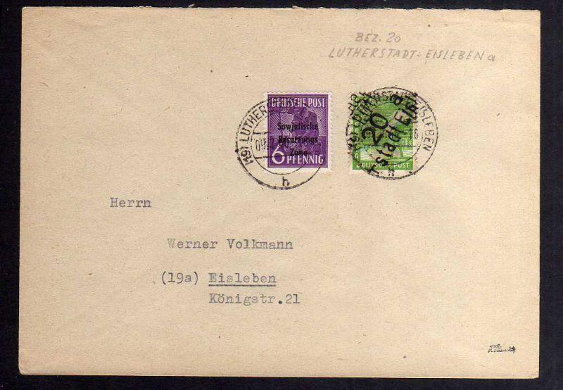 H2864 Handstempel Bezirk 20 Lutherstadt Eisleben Ortsbrief gepr. BPP