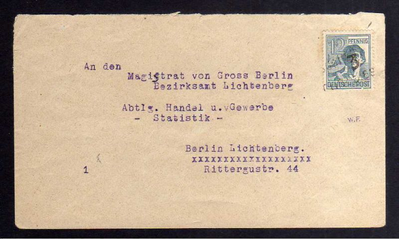 H2805 Handstempel Bezirk 3 Berlin Biesdorf 12 Pfg. Ortsbrief Altsignatur W.F. na