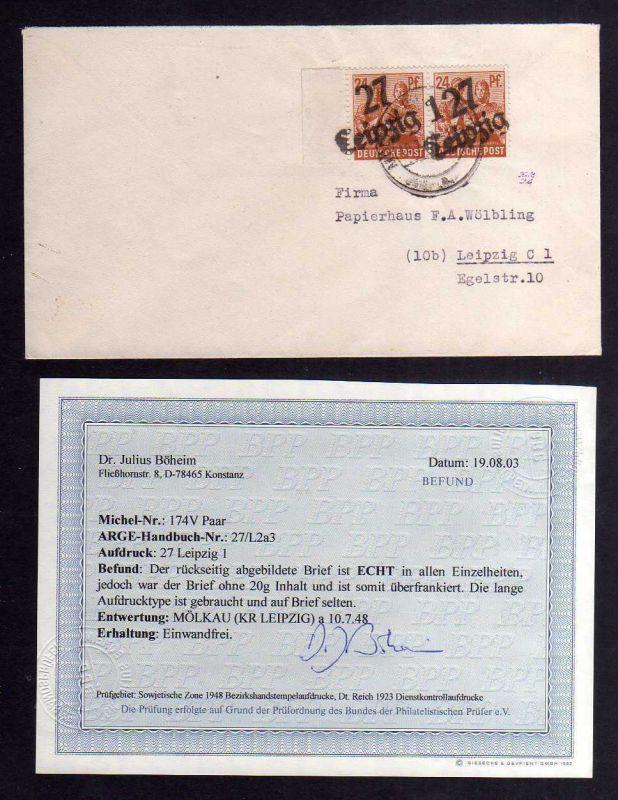 H2914 Handstempel Bezirk 27 Leipzig 1 seltene Type 2x 24 Pfennig AS Brief 10.7.4