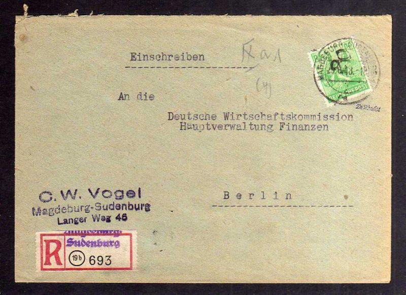 H2883 Handstempel Bezirk 20 Magdeburg Sudenburg gepr. BPP Einschreiben 84 Pfg. 1