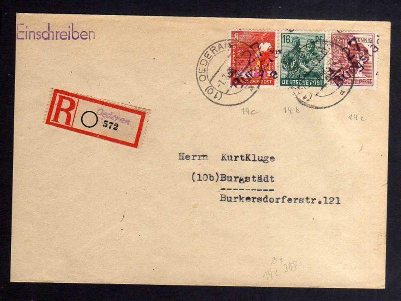 H2896 Handstempel Bezirk 27 Burgstädt violett Einschreiben Oederan Bedarfsbrief