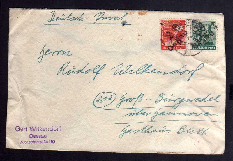 H2935 Handstempel Bezirk 29 Dessau Brief sowjetische Zensur 6312 nach Groß Burgw