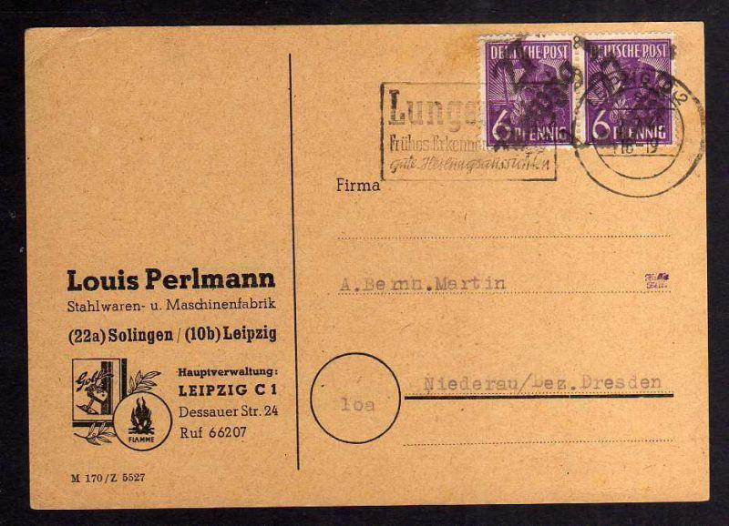 H2922 Handstempel Bezirk 27 Leipzig 1 2x 6 Pfg. Postkarte Stahlwaren- u. Maschin