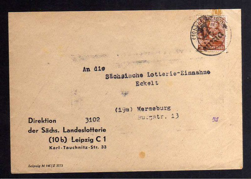 H2918 Handstempel Bezirk 27 Leipzig 24 Pfg. Brief Lotterie Einnahme gepr. BPP Be