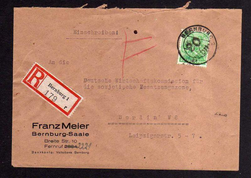 H662 Brief Handstempel Bezirk 20 Bernburg 30.6.48 Einschreiben an Wirtschaftskom