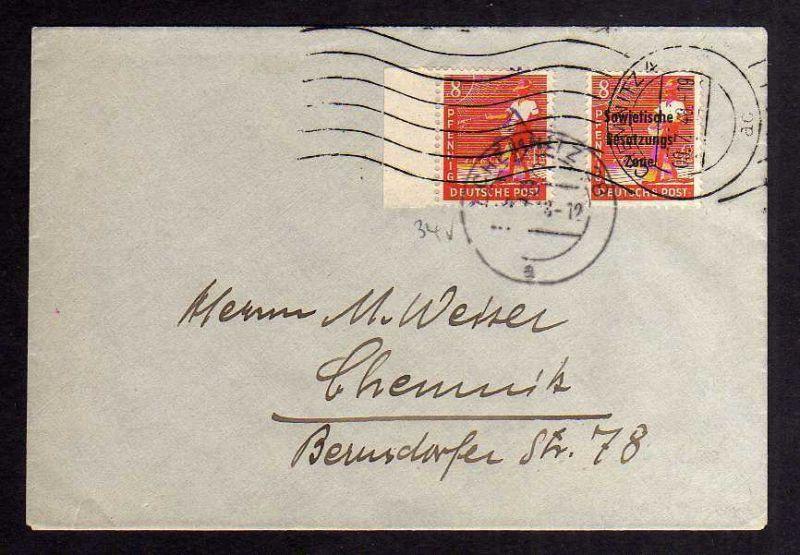 H2911 Handstempel Bezirk 27 Chemnitz 8 Pfg. violett Brief MiF SBZ maschinenaufdr