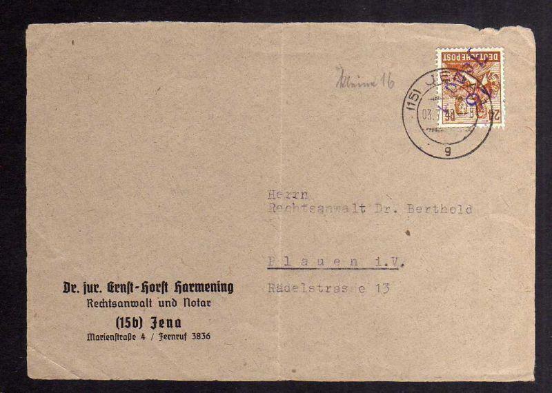 H2839 Handstempel Bezirk 16 Jena 1 24 Pfg. violett 1745 Fernbrief Vorderseite ge