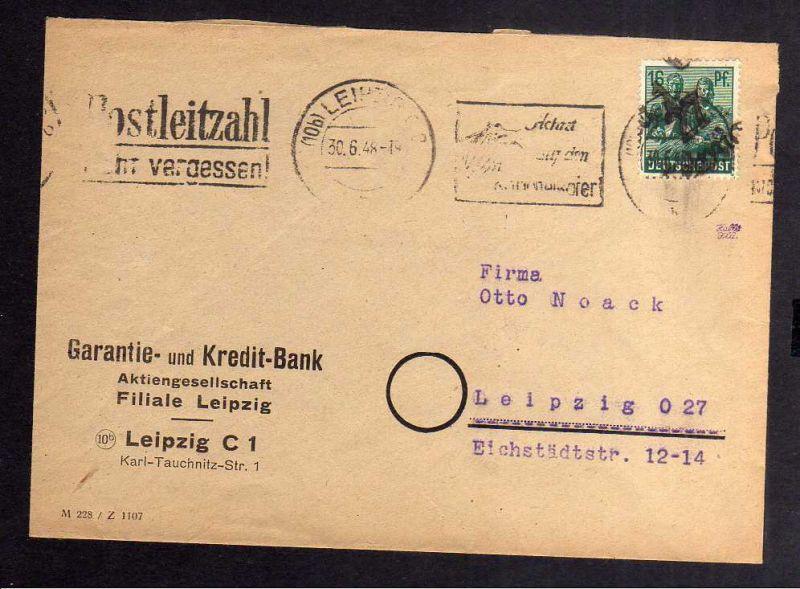 H2925 Handstempel Bezirk 27 Leipzig 1 16 Pfg. 30.6.48 gepr. BPP Bedarf Garantie-