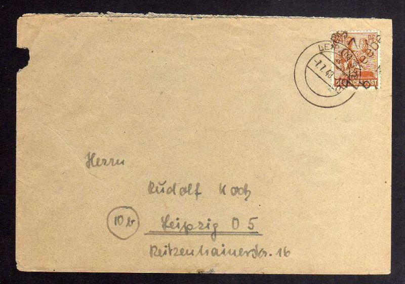 H2900 Handstempel Bezirk 27 Markkleeberg 24 Pfg. Bedarfsbrief 7.7.48 gepr. BPP