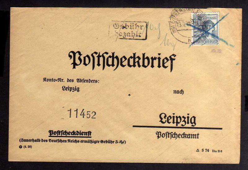 H2866 Handstempel Bezirk 20 Lutherstadt Eisleben Postscheckbrief gepr. BPP + Zwe