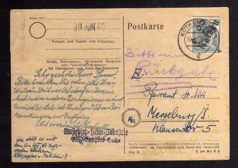 H2938 Handstempel Bezirk 29 Postkarte Köthen Umsiedler Heim Industrie
