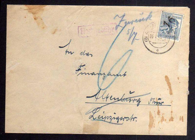 H2817 Handstempel Bezirk 16 Altenburg Ortsbrief an Finanzamt Nachgebühr zurück O