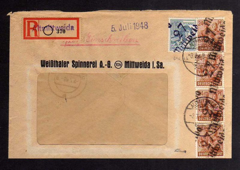 H2903 Handstempel Bezirk 27 Mittweida Bedarfsbrief Einschreiben Weißthaler Spinn