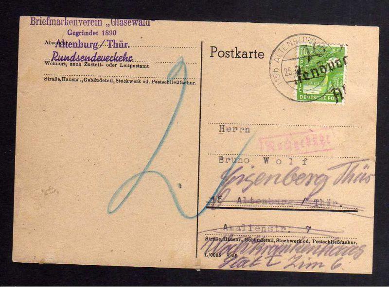 H2821 Handstempel Bezirk 16 Altenburg Ortskarte und Nachsendung, daher 2 Pfg. Na