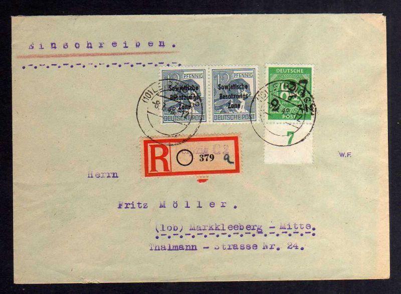 H2928 Handstempel Bezirk 27 Leipzig Ziffer 84 Bedarfsbrief 29.6.48 Einschreiben