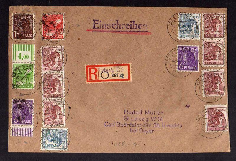 H2930 Handstempel Bezirk 27 Leipzig 1 6, 8 , 10, 15 Pfg. 26.6.48 gepr. BPP Einsc