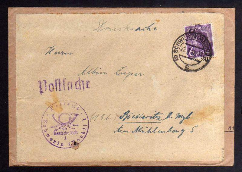 H2872 Handstempel Bezirk 20 Magdeburg abgedeckt Postsache Schwerin Drucksache No