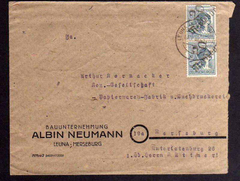 H2868 Handstempel Bezirk 20 Merseburg Bedarfsbrief Leuna Bauunternehmung Albin N