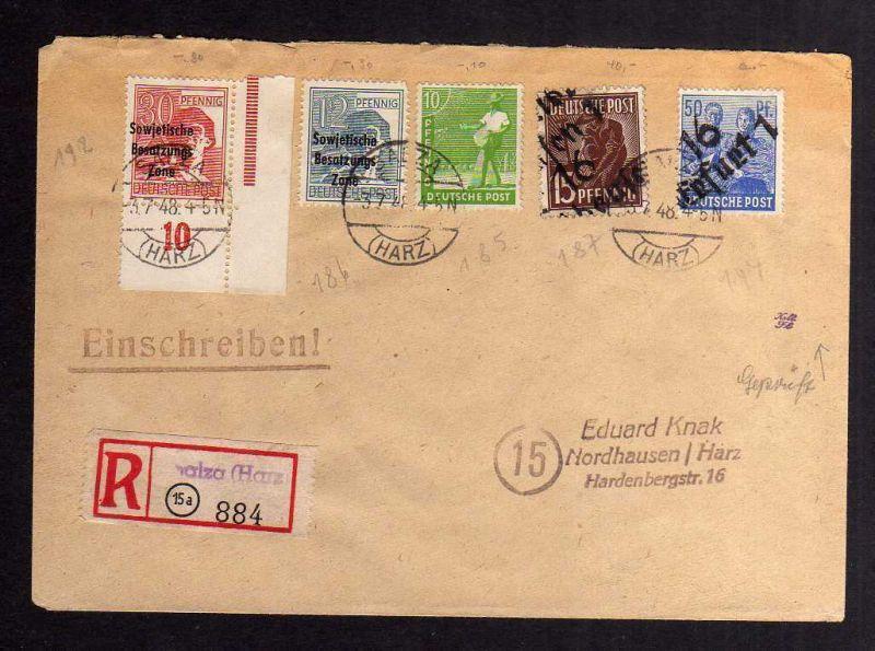 H2830 Handstempel Bezirk 16 Nordhausen Erfurt Zehnfach SBZ Maschinenaufdruck 3.7