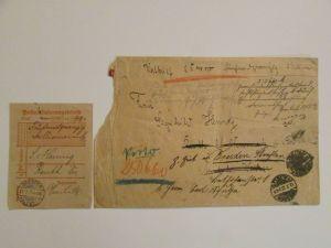v756-2 Wertbrief Deutsches Reich Dresden 1923 mit Einlieferungsschein nach Reuth