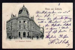 Ansichtskarte Ljubljana Laibach Slowenien K. K. Hauptpost 1898