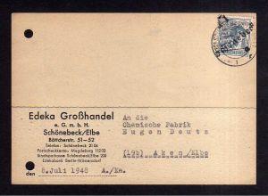 h1707 Handstempel Bezirk 29 Schönebeck 8.7.48 12 Pfg. Postkarte Bedarf nach Aken