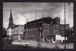 Ansichtskarte Myslowitz Schlesien Postamt um 1940 Erfrischungs Halle Bier Ausschank