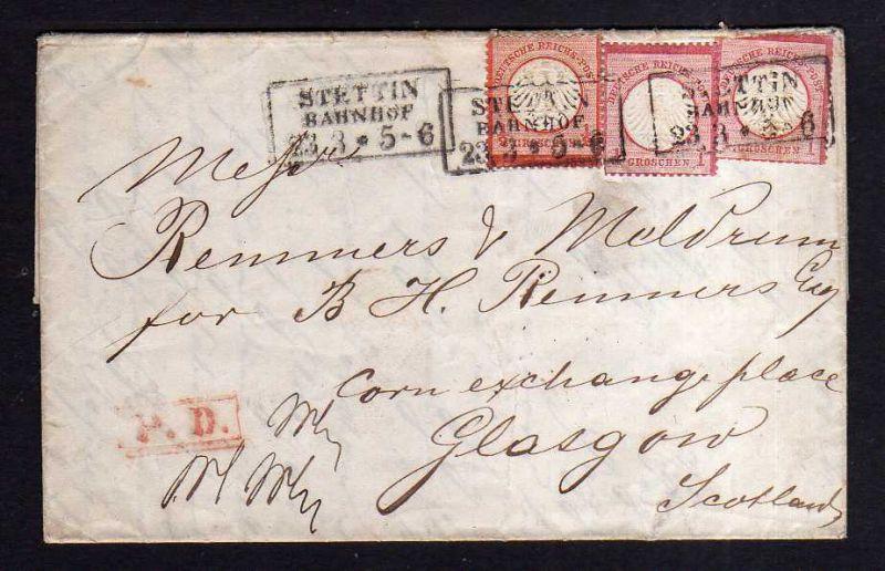 v093 aus Stettin Sammlung Deutsches Reich 3, 2x4 Stettin Bahnhof 1872 Glasgow