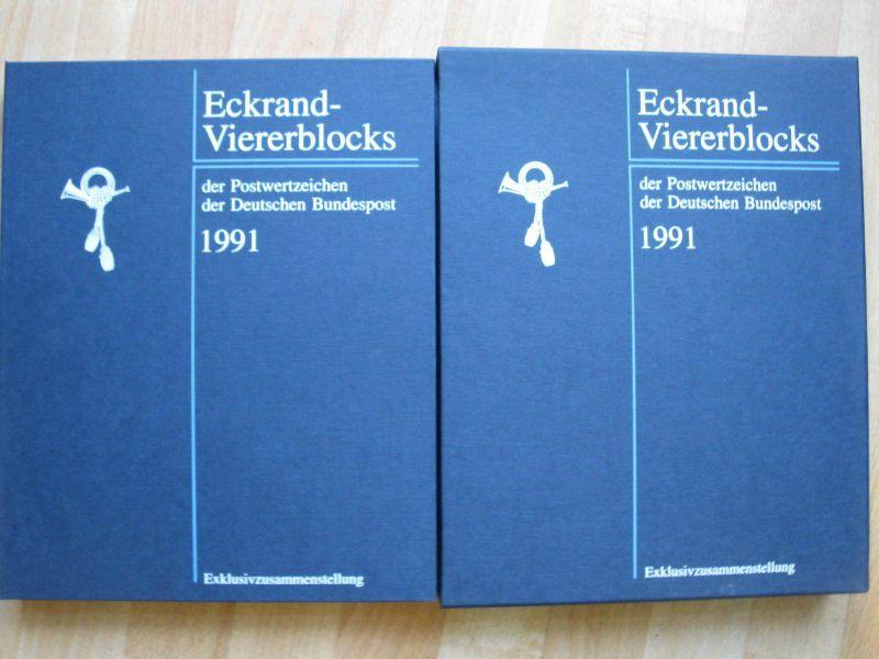 BRD 1991 Jahres Exklusivzusammenstellungen mit Eckrand Viererblocks postfrisch