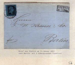 v056 aus Stettin Sammlung Preußen Brief Mi. 3 Nummernstempel 1439 Wasserzeichen