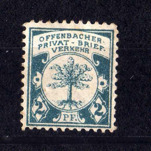 Privatpost Offenbach Offenbacher Privat Brief Verkehr 2 Pfennig *