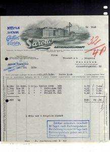 v506 Briefbogen Firmenrechnung Berlin Tempelhof Sarotti AG 1930