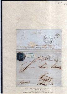 v063 aus Stettin Sammlung Preußen Brief Mi. 3 Nummernstempel 1439 nach Garz auf