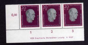 DDR 1957 606 Antifaschisten Thälmann R 1-3 ** DV ungefalten nicht angetrennt