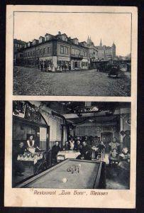 Ansichtskarte Meissen Restaurant zum Horn Billard Schlachtfest Pianino Gasthaus 1915