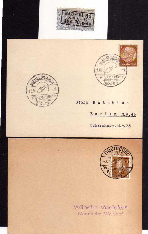 v206 Naumburg Bober NDP 1870 Paar + 2x Karte SST Panzoffel Industrie 1931 1937