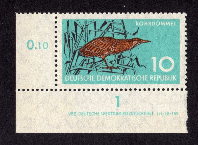 DDR 1959 689 Naturschutz Rohrdommel R 1 ** DV unten ndgz. ungefalten nicht a