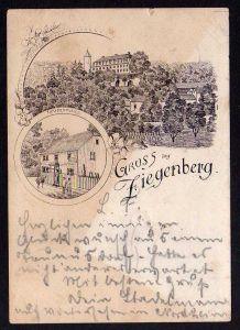 Ansichtskarte Schloss Ziegenberg Wirtshaus Gaststätte 1895 Vorläufer