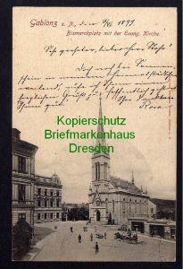Ansichtskarte Gablonz an der Neiße 1899 Bismarckplatz Kirche Jablonec nad Nisou