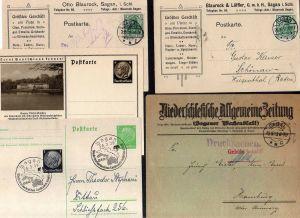 v167 Sagan Otto Blaurock 1912 Brief Saganer Tageblatt gebühr bezahlt 1923 Nieder