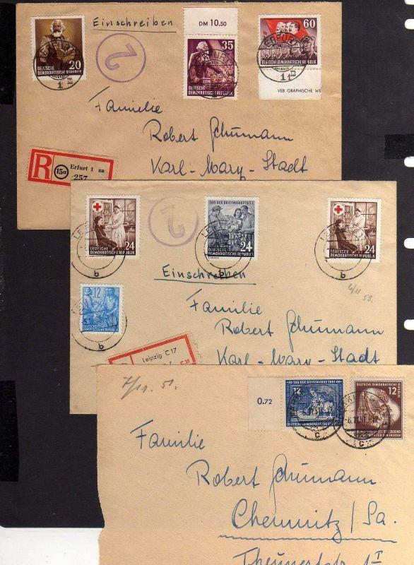 B1260 DDR 1951 2 Briefe + Vorderseite Marx Tag der Briefmarke 396 Rotes Kreuz 38