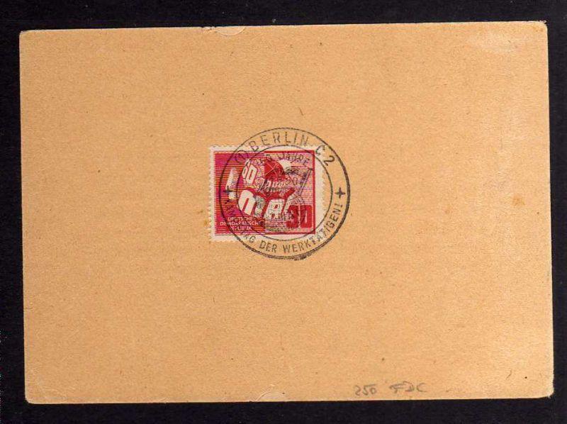 B1251 DDR 1950 250 Sonderstempel auf Karte 60 Jahre Tag der Arbeit 1. Mai