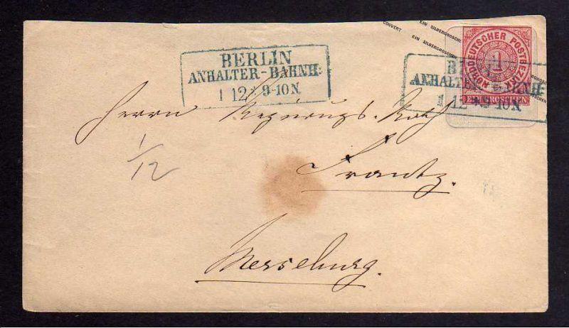 B120 NDP Norddeutscher Postbezirk Ganzsache Preussen 1 Sgr. überklebt Berlin Anh