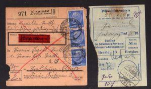 v132 Paketkarte Kunzendorf Kr. Wohlau Bz. Breslau 1942 Posteinlieferungsschein S