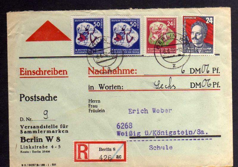 B1259 DDR 1951 292 290 Weltfestspiele Nachnahme Postsache der Versandstelle