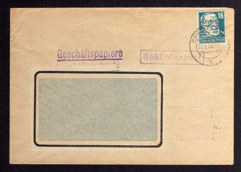 B1278 DDR 1952 Köpfe II 332 za XI 22.9.52 sehr frühes Datum Geschäftspapiere Beh